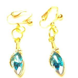 "1.5"" Gold Ocean Blue Crystal Clipon Earrings"